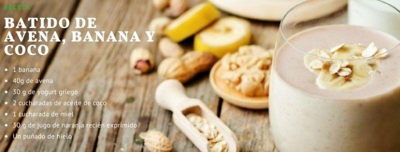 1.- Batido de avena, banana y coco