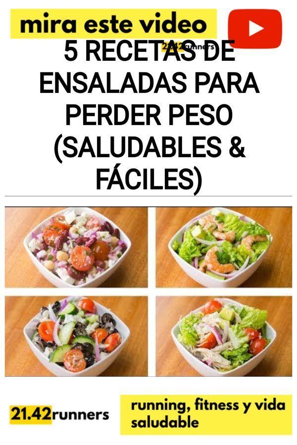 5 Recetas de ensaladas para PERDER PESO (Saludables & Fáciles)